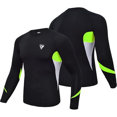 CLOTHING RASH GUARD L3 GREEN/ORANGE