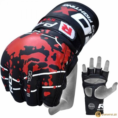 GRAPPLING GLOVE BLOOD DOUBLE STRAP BLACK
